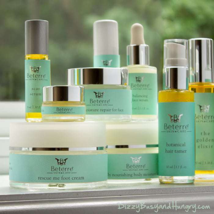Close up shot of Beterre skin care products.