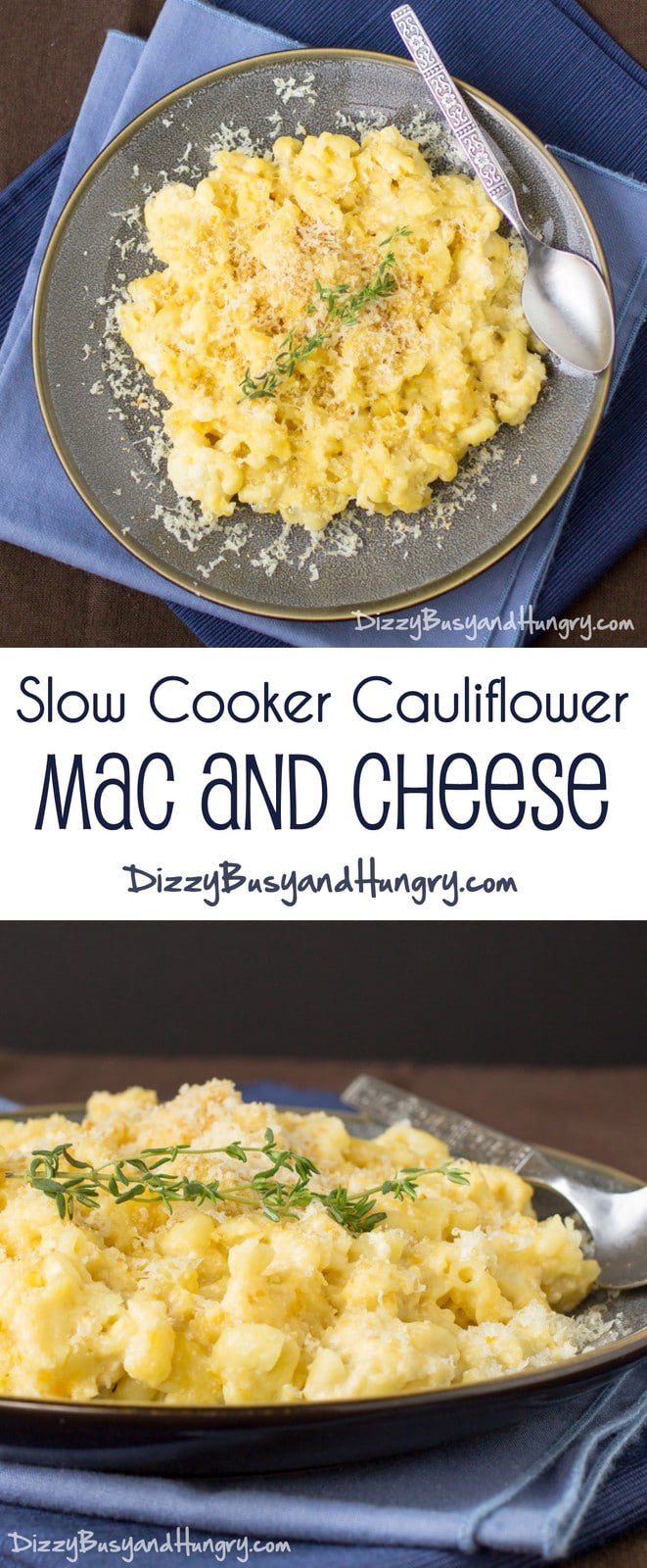 Slow Cooker Cauliflower Mac and Cheese | DizzyBusyandHungry.com - Easy, cheesy, nutritious, and sure to please even picky eaters!