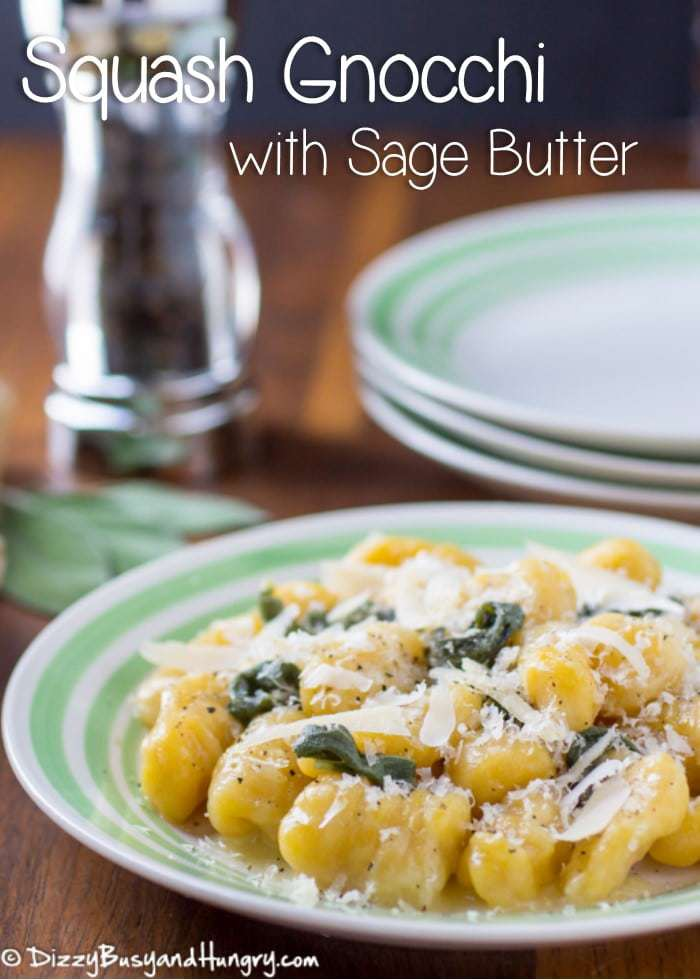 Squash Gnocchi with Sage Butter #WeekdaySupper | DizzyBusyandHungry.com - Hearty yet tender dumplings packed with the nutritional goodness of butternut squash and drenched in a buttery sage sauce.