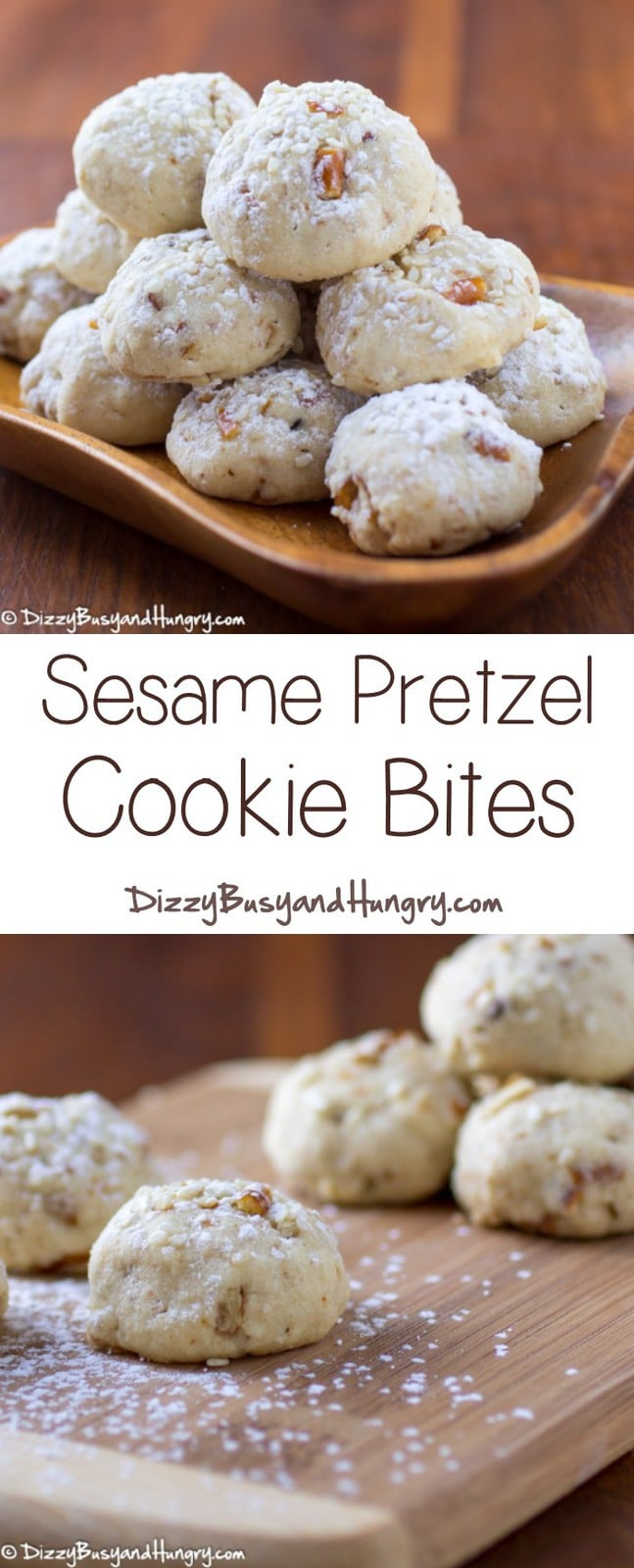 Sesame Pretzel Cookie Bites | Dizzy Busy and Hungry - Buttery, sweet, and salty, these melt-in-your-mouth cookies are super-easy to make and totally delicious!