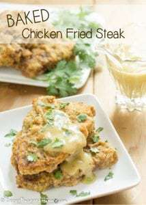 Baked Chicken Fried Steak | DizzyBusyandHungry.com - Lightened up and easy to make, yet still so delicious, this is a hearty dish your whole family will love!