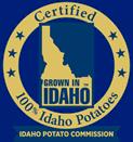 Close up shot of a Certified 100% Idaho Potatoes sign.