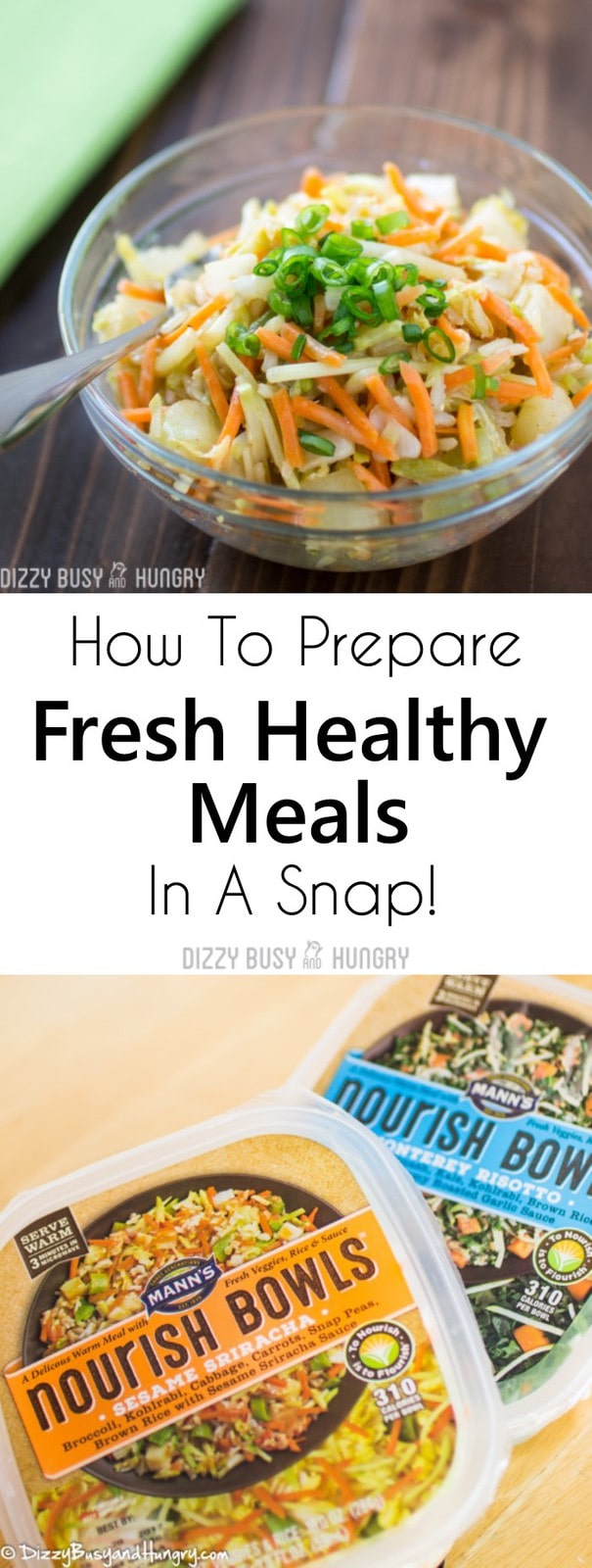 Close up of a sign that says How to Prepare Fresh Healthy Meals in a Snap with pictures of nourish bowls.
