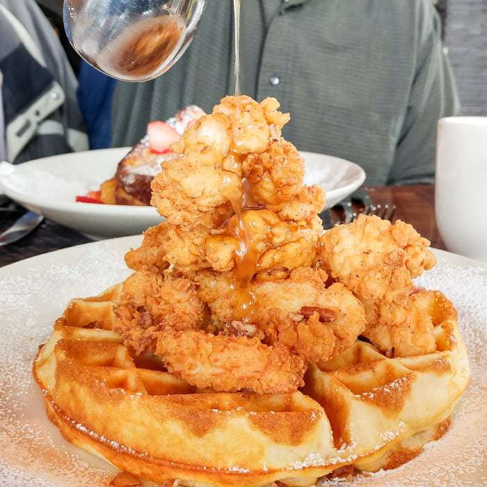 Side view of a large plate of chicken and waffles on a white plate sprinkled with powdered sugar.
