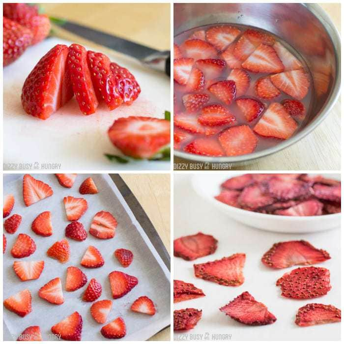 Four panel grid of process shots- slicing, soaking, and drying strawberries.