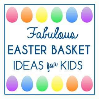 "Close up shot of a sign saying ""Fabulous Easter basket Ideas for Kids"" with rainbow Easter eggs above and below."