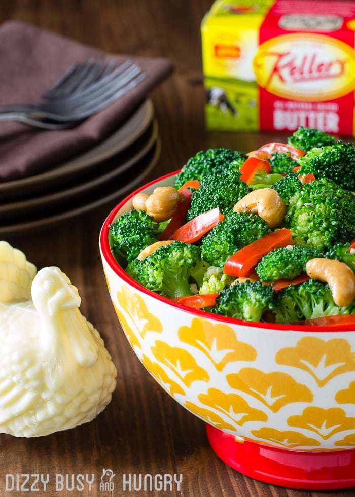 Broccoli with Red Pepper Garlic Butter Sauce | DizzyBusyandHungry.com - Broccoli side dish with a delicious buttery sauce infused with the flavors of fresh red peppers and garlic and combined with the crunchiness of cashews!
