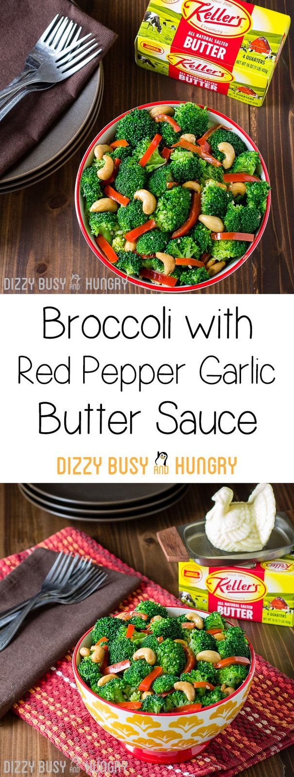 Broccoli with Red Pepper Garlic Butter Sauce   DizzyBusyandHungry.com - Broccoli side dish with a delicious buttery sauce infused with the flavors of fresh red peppers and garlic and combined with the crunchiness of cashews!