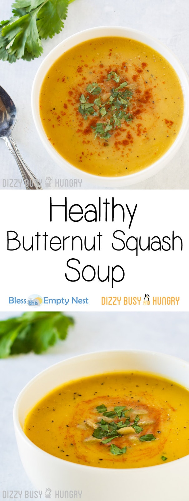 Healthy Butternut Squash Soup | DizzyBusyandHungry.com - Silky, fragrant, and flavorful, this comforting soup is a hit with adults and kids alike!