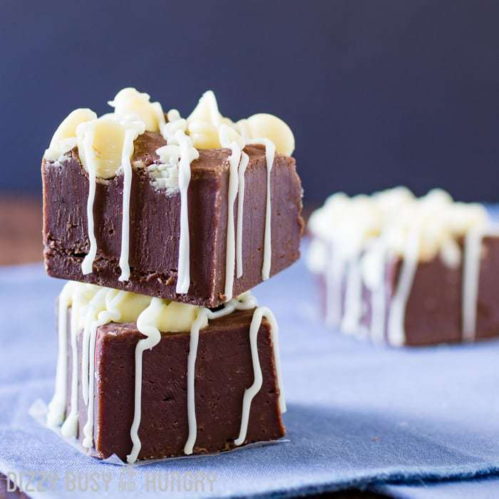 Kahlua and Cream Fudge | DizzyBusyandHungry.com - Smooth, creamy, decadant chocolate fudge recipe with the flavors of a festive, fun cocktail!