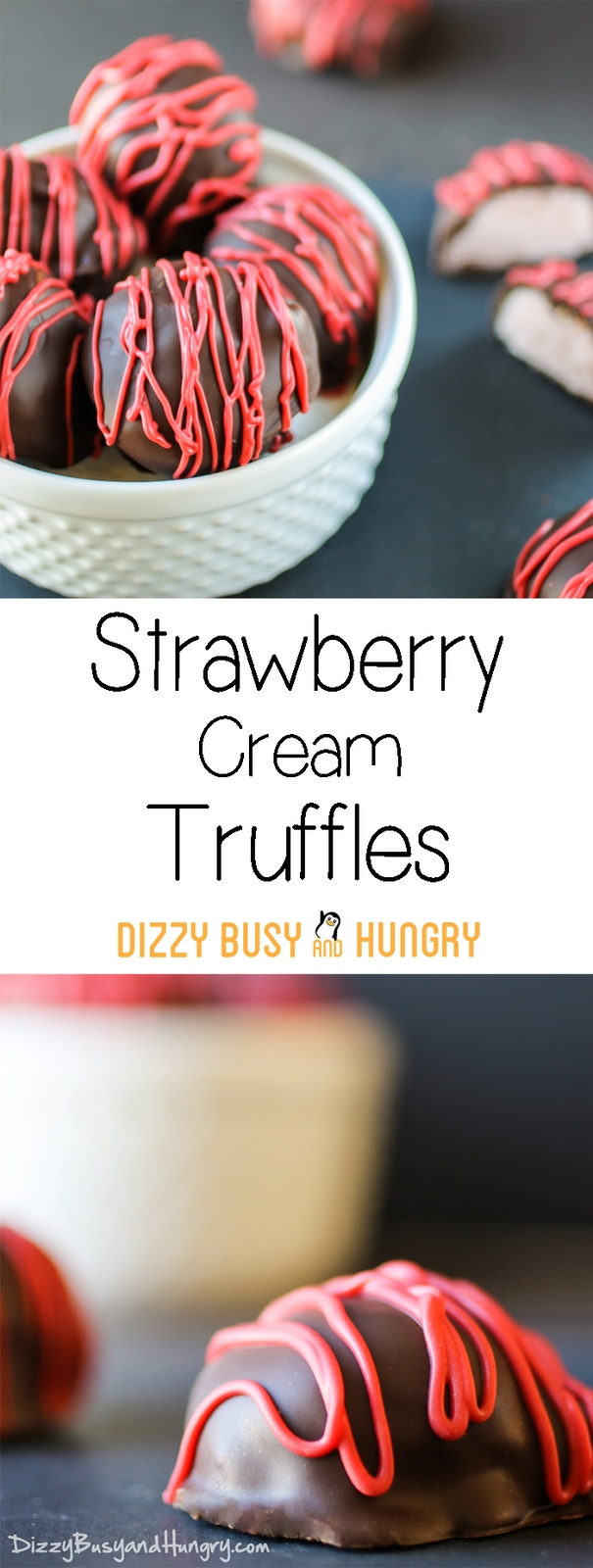 Strawberry Cream Truffles | DizzyBusyandHungry.com - These luxurious, decadent, creamy, (and easy to make!) truffles are perfect for Valentine's Day or any day!