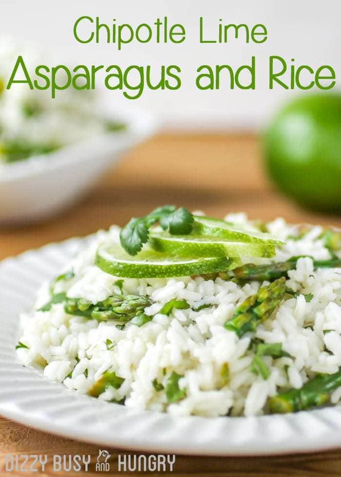 Side view of cilantro lime asparagus and rice garnished with cilantro and lime slices on a white plate.