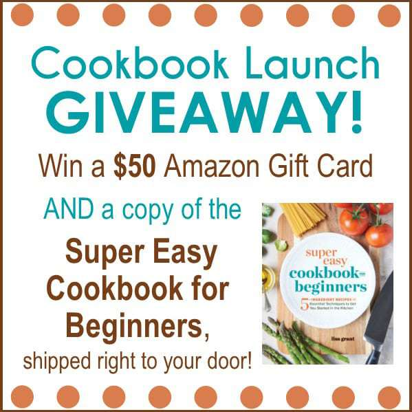 Close up of a Cookbook Launch Giveaway sign.