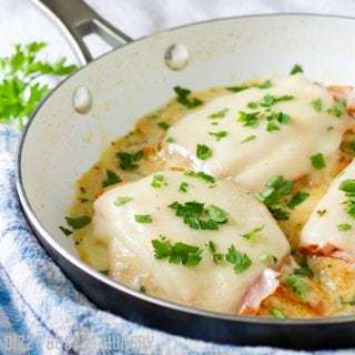 One-Pan Chicken Cordon Bleu | DizzyBusyandHungry.com - I love easy chicken recipes! It doesn't get any easier or more delicious than this chicken cordon bleu, made in one skillet and ready in 25 minutes!