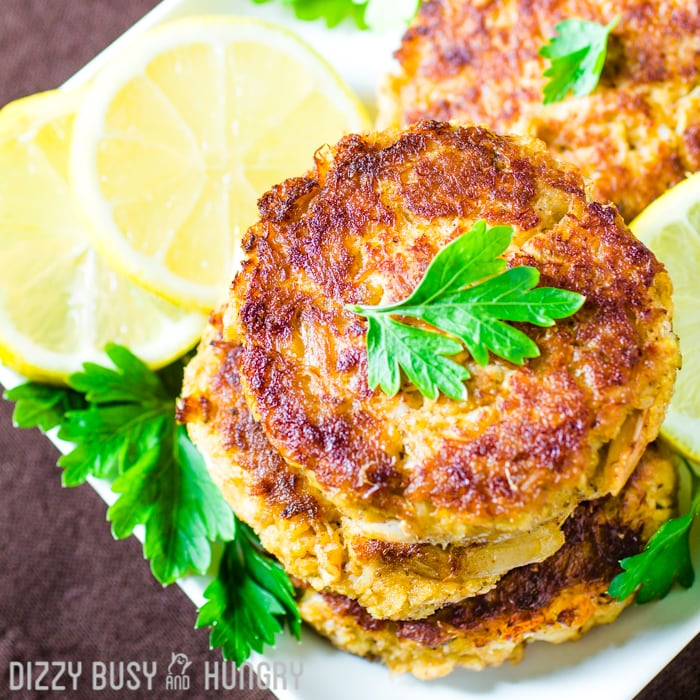 overhead view of stacked crab cakes