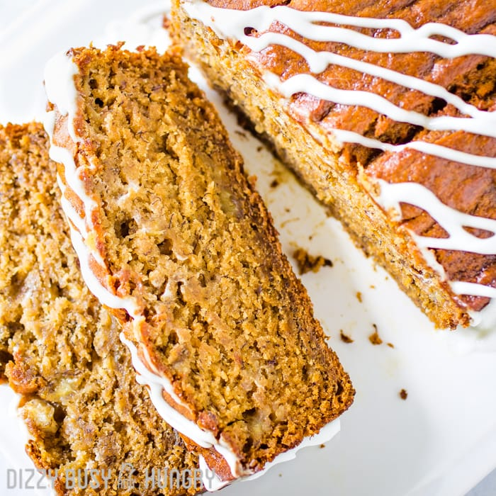 Banana bread slices from overhead
