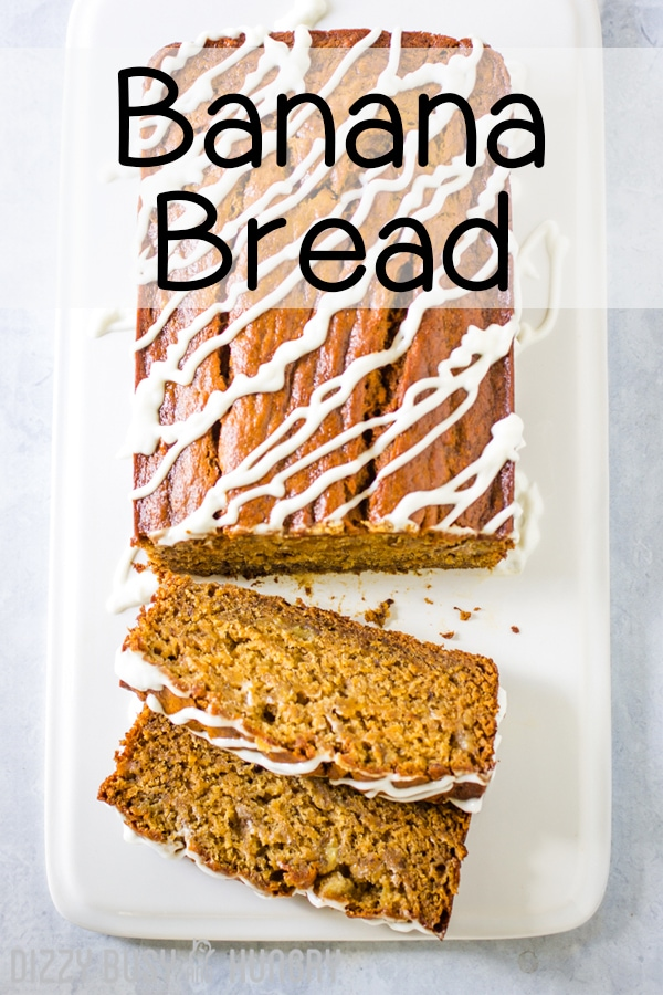 Banana bread from overhead with drizzled vanilla frosting