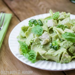 chicken pesto pasta with broccoli 60 degree angle