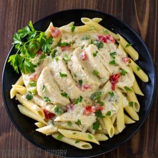 creamy cayenne chicken breast crock pot recipe overhead view
