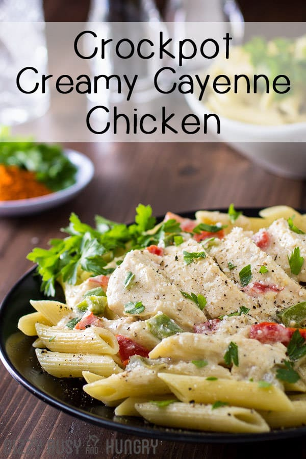 creamy cayenne chicken breast crock pot recipe pin