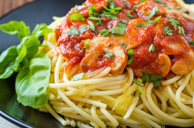 Healthier Spaghetti 30 degree angle view