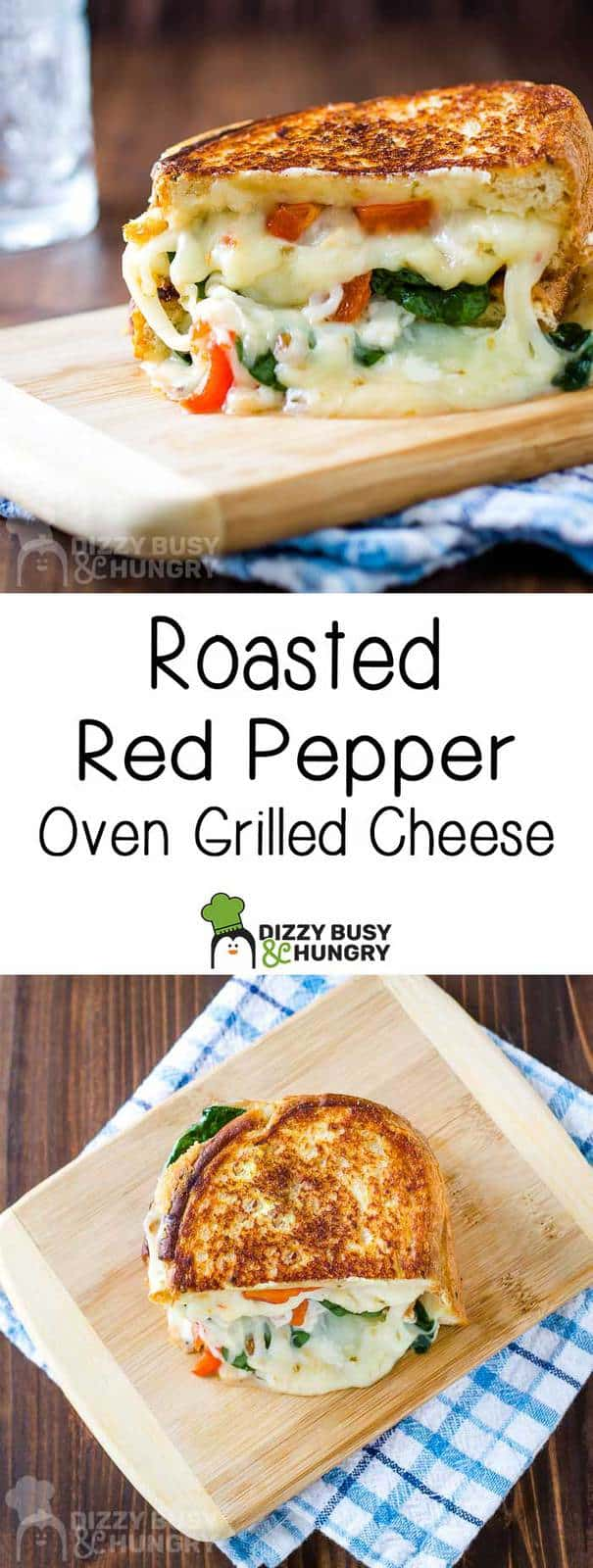 long pin of roasted red pepper oven grilled cheese with two photos and text