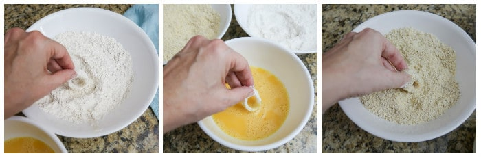 baked calamari process shots - dip each ring in flour mixture, then egg, then cornmeal mixture
