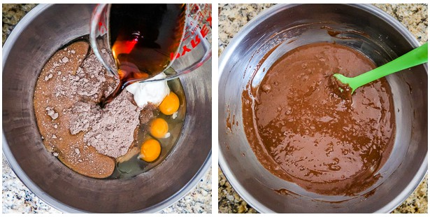 photo collage of adding the Guinness to the bowl and then mixing the ingredients