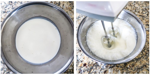 photo collage of heavy cream in bowl, then hand mixer beating the cream