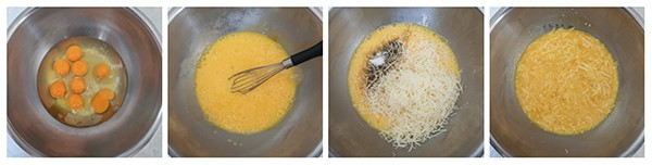 Four panel collage of process shots- beat eggs and add cheese to mixture.