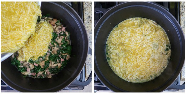 Two panel collage of process shots- add eggs to veggie mixture and cook.