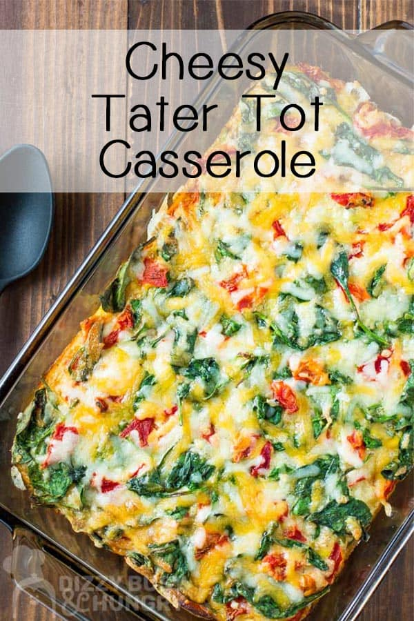 Overhead view of finished cheesy tater tot casserole in a rectangular baking dish