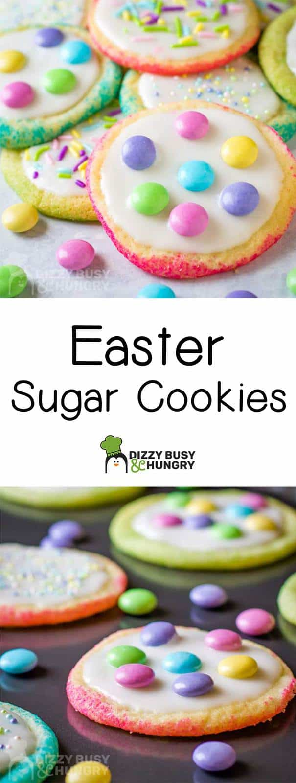 long pin for Easter sugar cookies with 2 photos and text
