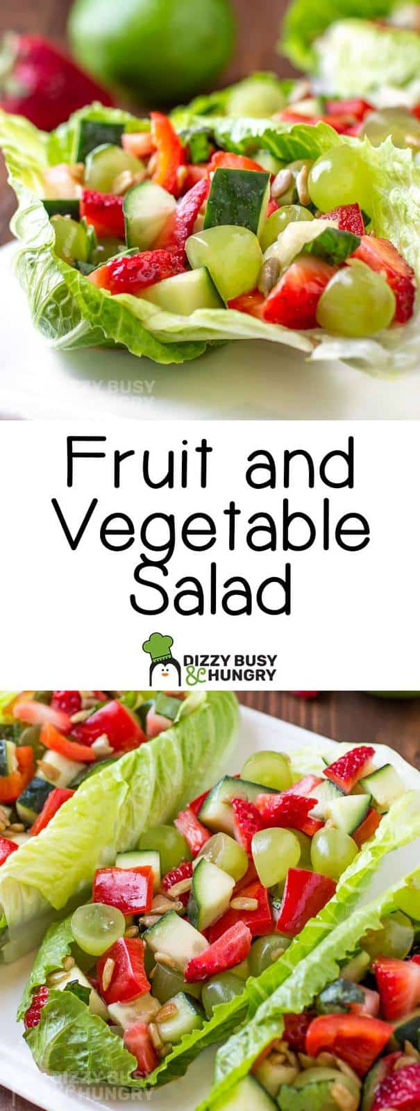 Long pin of the fruit and vegetable salad with two photos and text in between