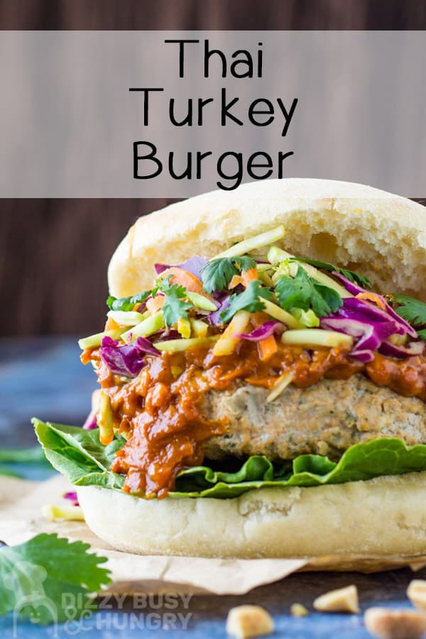 Short pin for Thai turkey burger, front angle view with text