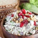 Front view of a brown bowl with cranberry walnut chicken - Cheap chicken recipes