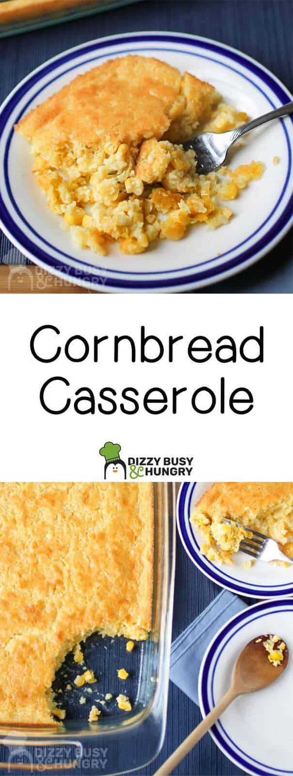 Two photos of cornbread casserole with text in the center for pinning on Pinterest