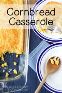 Vertical photo of cornbread casserole in the casserole dish and on a plate, with text, for pinning