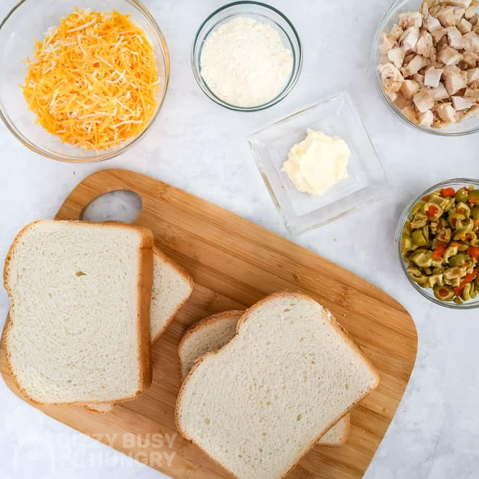 Overhead view of the ingredients needed to make this Grilled Chicken Sandwich Recipe with Cheese