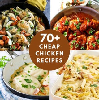 Collage photo with 4 chicken recipes and a title in the center that says 70+ Cheap Chicken Recipes
