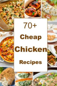 Small collage image of a sampling of the many chicken recipes in this post with text in middle.