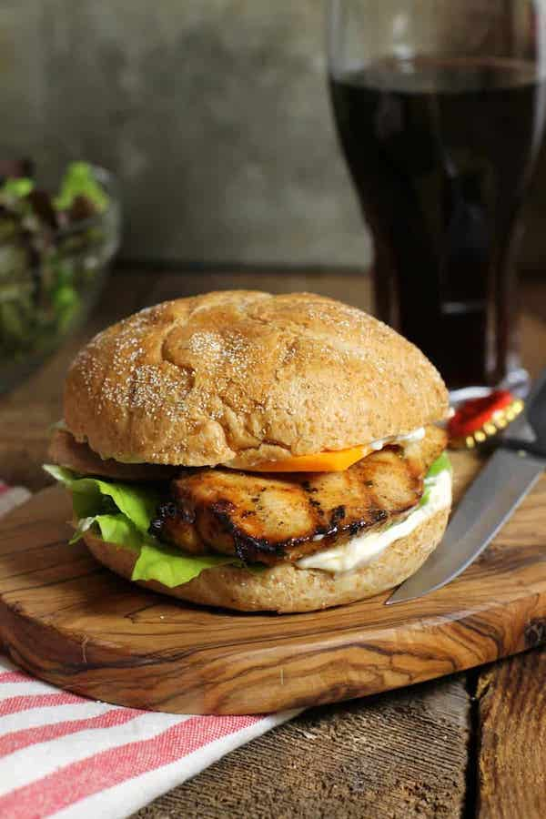 front view of a grilled chicken burger - Cheap Chicken Recipes