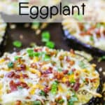 Close up shot of a finished eggplant round loaded with cheese, bacon bits, and scallions, on a baking sheet.