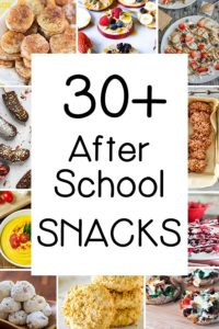 Collage of 10 after school snack photos with text in the middle