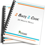 Front view of 2 Busy 2 Cook- 30 minute meals recipe book.