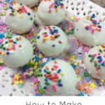 top view of 6 funfetti cake balls with sprinkels