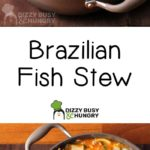 Side view of fish stew in brown pot on a brown placemat.