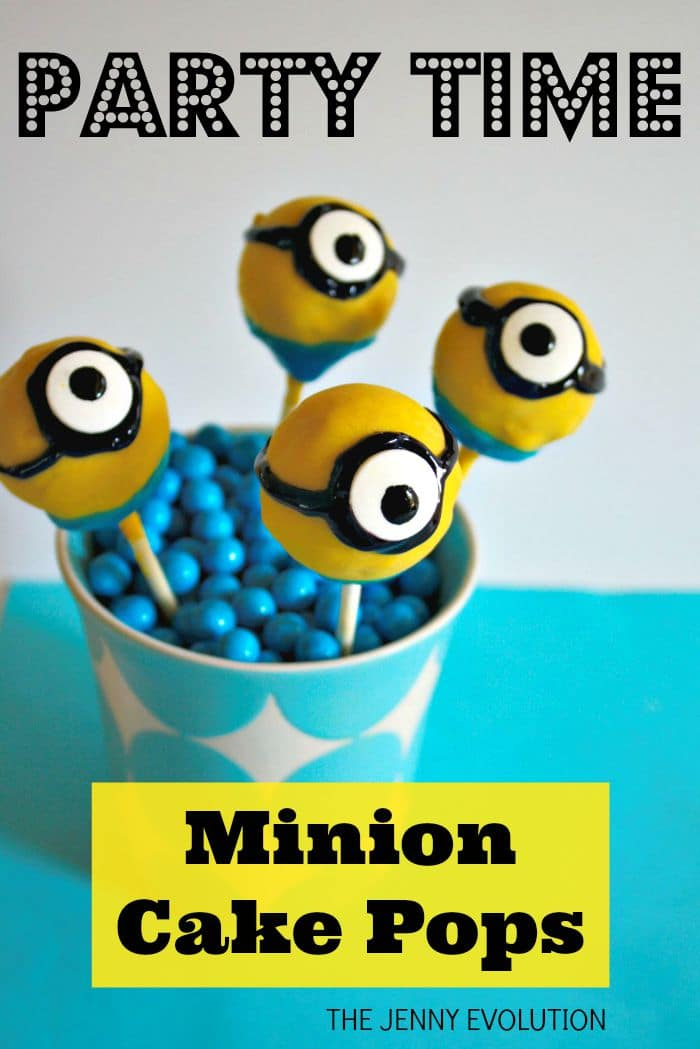 front view of 4 minion cake balls in a blue cup