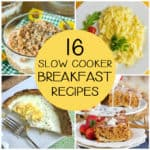 square collage of 4 slow cooker breakfast recipes