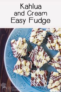 Overhead shot of fudge pieces on a blue plate/
